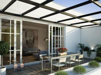 transparente Terrassenüberdachung aus Glas oder Polycarbonat